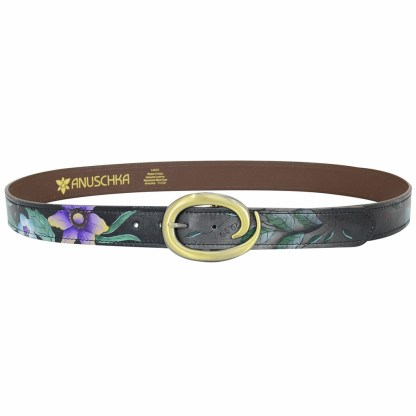 """Anuschka Adjustable Belt Fits All sizes up to 40.5"""" Hand Painted Leather Vintage Bouquet"""
