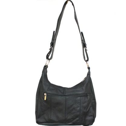 Silver Fever Medium Handbag - Soft Genuine Leather - Ladies Shoulder Daily Organizer Black with Buckle