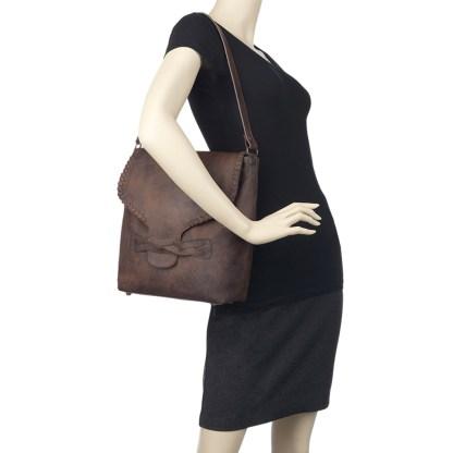 TrueLu American West Shoulder Bag, Claire Bucket Walnut