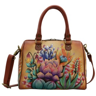 Anuschka Zip Around Classic Satchel - Hand Painted Real Leather Handbag - Desert Sunset