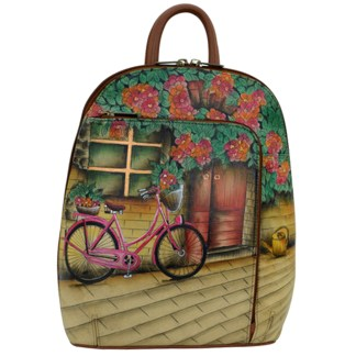 Anuschka Genuine Leather Handpainted Sling-Over Travel Backpack Vintage Bike