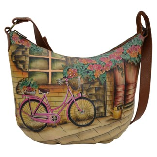 Anuschka Medium Bucket Handpainted Genuine Leather Hobo Vintage Bike
