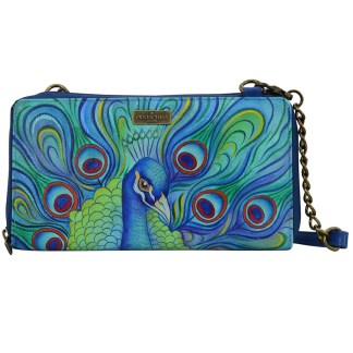 Anuschka Genuine Handpainted Leather Clutch Wallet Crossbody Jeweled Plum