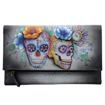 Anuschka Leather Three Fold Clutch Wallet Calaveras de Azucar
