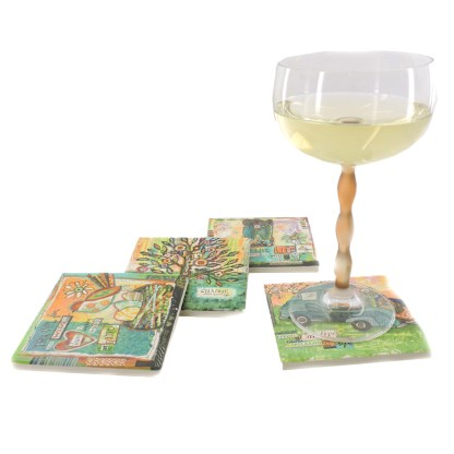 Tumbled Tile Coasters Set of 4-Silver Fever- Coffee Cup Drinks Wine - Cork Back Non-Slip Coaster -Family Happy