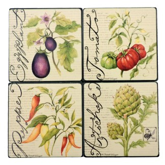 Tumbled Tile Coasters Set of 4-Silver Fever- Coffee Cup Drinks Wine - Cork Back Non-Slip Coaster -Vegitable Garden