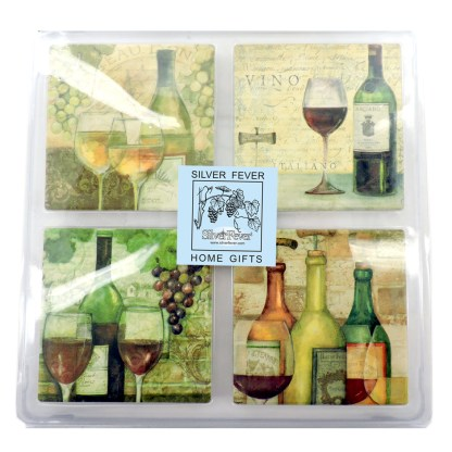 Tumbled Tile Coasters Set of 4-Silver Fever- Coffee Cup Drinks Wine - Cork Back Non-Slip Coaster -Vino Toscano