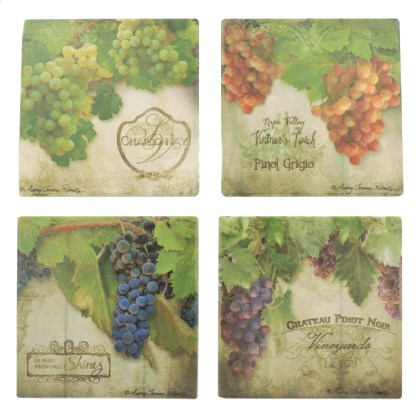 Tumbled Tile Coasters Set of 4-Silver Fever- Coffee Cup Drinks Wine - Cork Back Non-Slip Coaster -Wine Grapes