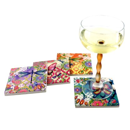 Tumbled Tile Coasters Set of 4-Silver Fever- Coffee Cup Drinks Wine - Cork Back Non-Slip Coaster -Butterfies and Dragonflies
