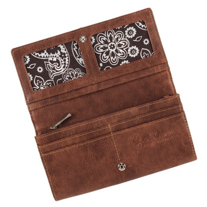 American West Bandana Ladies By-Fold Wallet Cherry Wood Guns & Roses