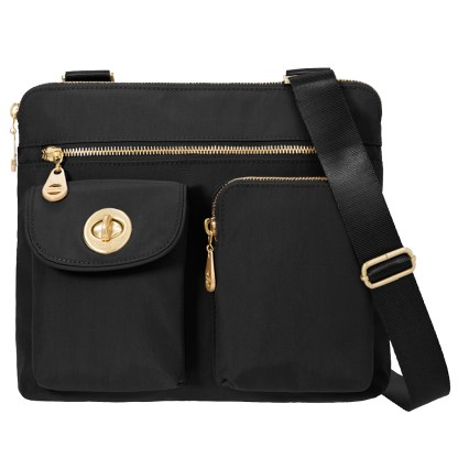 Baggallini Melburne Nylon Crossbody Shoulder Handbag Organizer Purse Black