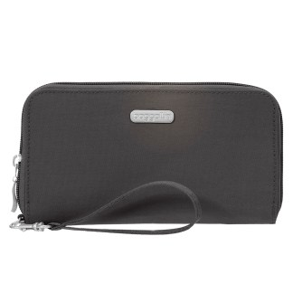 Baggallini RFID Travel Continental Zip Around Wallet Wristlet Black Sand