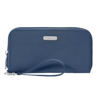 Baggallini RFID Travel Continental Zip Around Wallet Wristlet Pacific