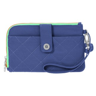 Baggallini Travel RFID Passport & Phone Wristlet Royal Blue/Mint