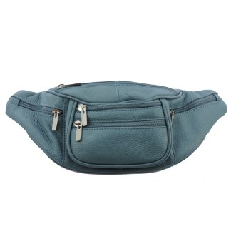 Silver Fever Genuine Leather Fanny Pack Waist Bag Phone Holder Light Blue