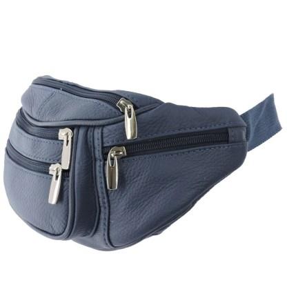 Silver Fever Genuine Leather Fanny Pack Waist Bag Phone Holder Navy