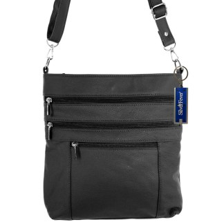 Silver Fever Leather Messenger Shoulder Cross Body Bag Ipad Compatible Unisex Black
