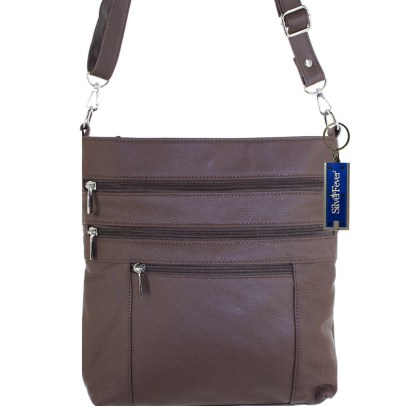 Silver Fever Leather Messenger Shoulder Cross Body Bag Ipad Compatible Unisex Brown