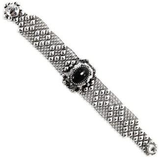 Sergio Gutierrez Liquid Metal Dimnd Mesh Bracelet Oval Genuine Onyx