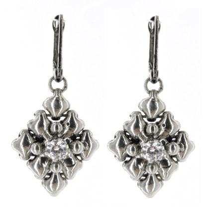 "Sergio Gutierrez Liquid Metal Earrings Crystal Clear  1"" L"