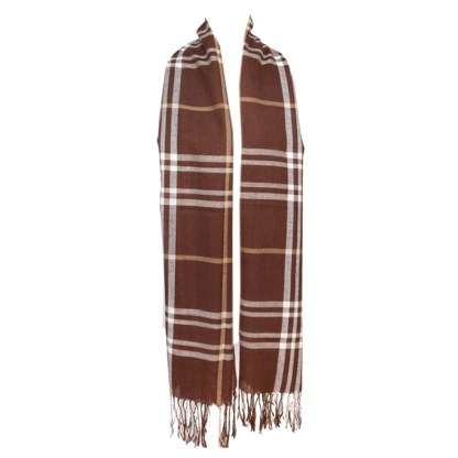 SILVERFEVER Classic Plaid Scarf Winter Pashmina Wrap Brown