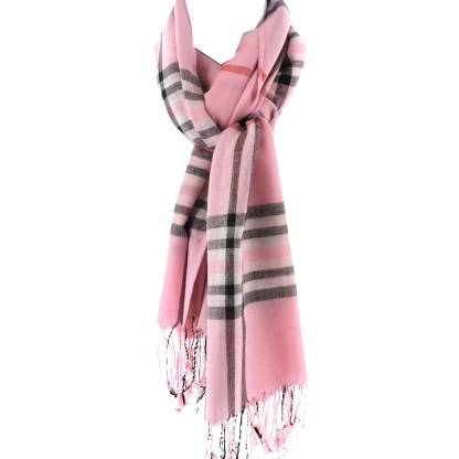 SILVERFEVER Classic Plaid Scarf Winter Pashmina Wrap  Baby Pink
