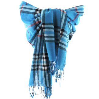 SILVERFEVER Classic Plaid Scarf Winter Pashmina Wrap  Blue