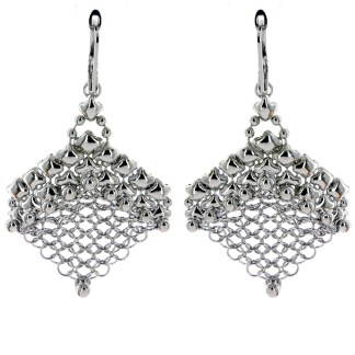 "Sergio Gutierrez Liquid Metal Earrings Chainmail Mesh 2 1/2""L"