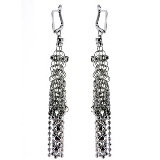 "Sergio Gutierrez Liquid Metal Earrings Chainmail Mesh Tussle 3 1/4""L"