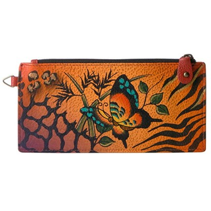 Anna by Anuschka Leather Ladies Organizer Wallet - Animal Butterfly Tan