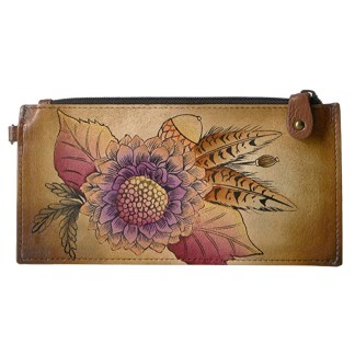 Anna by Anuschka Leather Ladies Organizer Wallet  - Rustic Bouquet