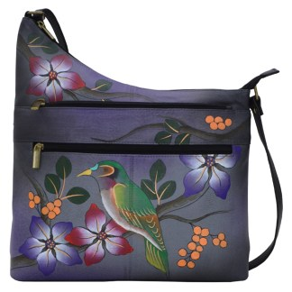 Anna by Anuschka Assymetric Crossbody - Bird on Branch Grey