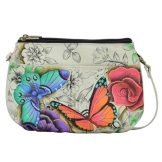 Anna by Anuschka Leather Crossbody Bag 3 Compartments - Floral Paradise