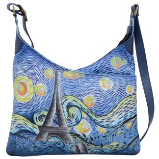 Anna by Anuschka Leather V Top Crossbody Hobo - Love in Paris