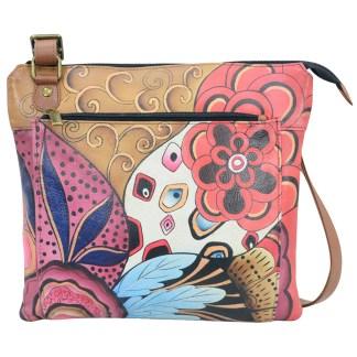 Anna by Anuschka Leather Medium Crossbody Multippocket Bag - Tribal Potpouri