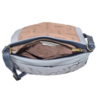 Anna by Anuschka Leather Flap Hobo w Tussle - Patchwork Pewter