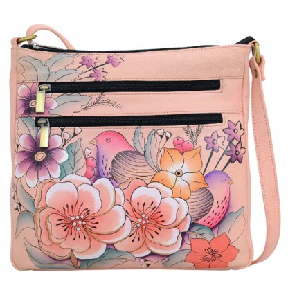 Anna by Anuschka Leather Medium Organiser Crossbody Bag - Vintage Garden