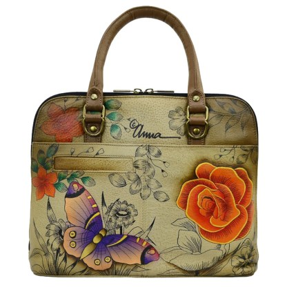 Anna by Anuschka Leather Slim Crossbody Satchel - Floral Paradise Tan
