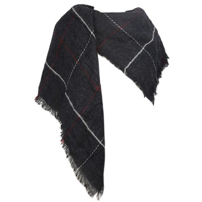 SILVERFEVER Womens Plaid Blanket Wrap Scarf Warm Shawl Black
