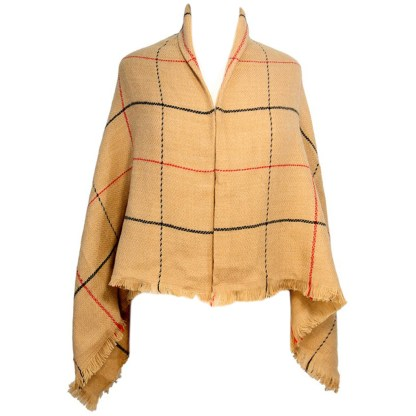 SILVERFEVER Womens Plaid Blanket Wrap Scarf Warm Shawl Beige