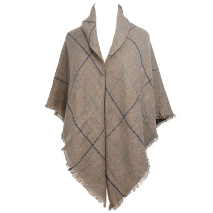 SILVERFEVER Womens Plaid Blanket Wrap Scarf Warm Shawl Taupe