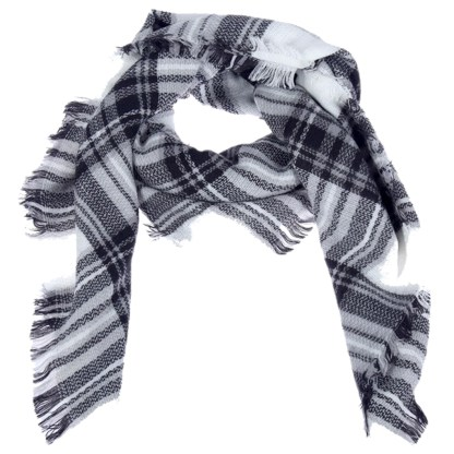 SILVERFEVER Womens Plaid Blanket Wrap Scarf Warm Shawl White Black