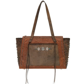 American West Leather Tote - Multi Compartment Carry on Bag -  Brown - Rio Grande