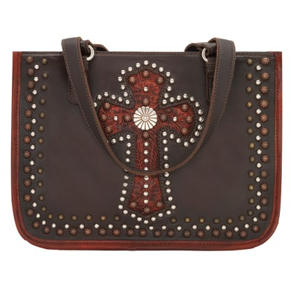 American West Leather Tote - Multi Compartment Carry on Bag -  Crimson - Las Cruces