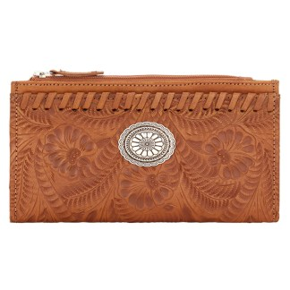 American West Leather Ladies' Tri-Fold French Wallet  Golden Tan