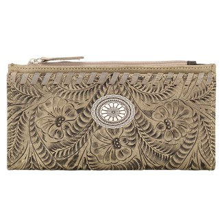 American West Leather Ladies' Tri-Fold French Wallet  Sand