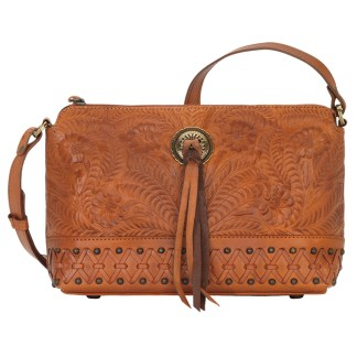 American West Leather Cross Body  Handbag -  Golden Tan-Dove Canyon