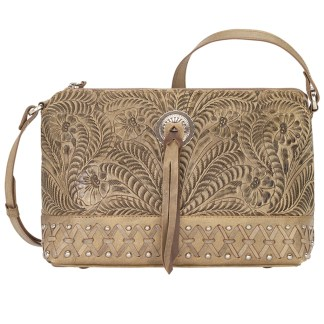 American West Leather Cross Body  Handbag -  Sand-Dove Canyon