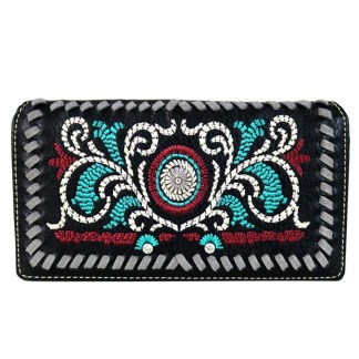 Montana West Clutch Style Secretary Wristlet Wallet Black Embroidered w Daisy Concho