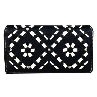 Montana West Clutch Style Secretary Wristlet Wallet Black Aztec Pattern